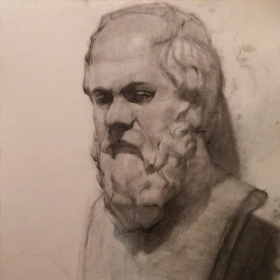 Bust of Socrates (2015)- charcoal on paper