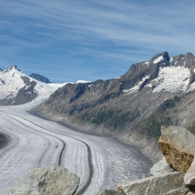 The Aletsch Glacier (German: Aletschgletscher) is the largest glacier in the Alps.