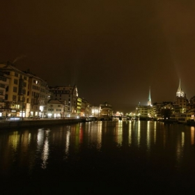 Zurich by night. Zurich is the largest city in Switzerland and the capital of the canton of Zürich