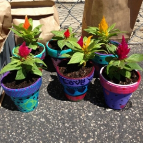 Mother's Day Project for my 6th graders from donated clay pots.