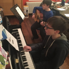 "Lopez Brothers learning their first Duet "" House Of Rising Sun"""