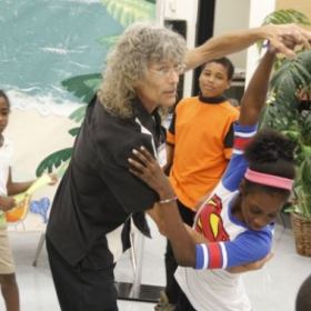 "Me demonstrating a ""corte,"" a move used in the Tango.  I was teaching a group class of 4th and 5th graders in a Miami-Dade public school."