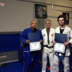 Promotions  two serious students- who went all the way ! That actually was their Brown Belt Promo ! Geo and Nick .