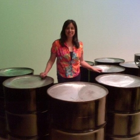 Playing the beautiful bass pans at a CSU Long Beach Caribbean Concert.