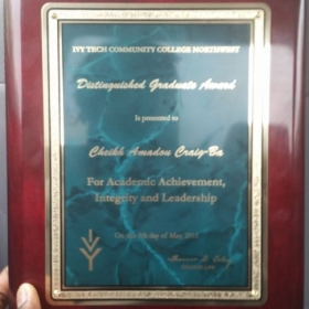 Distinguished Graduate Award plaque