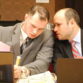 Discussing a legal argument during the Clara Barton International Humanitarian Law Competition in Washington, D.C.
