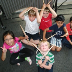 Intro to Drum set class at Community School of Music in Mt. View, Ca