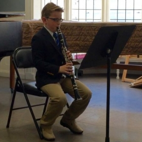 Clarinet student performing at the spring 2015 recital!