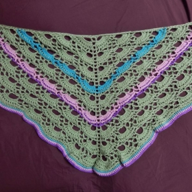 Yes Yes (Crochet) Shawl. Chain, Single, Half Double, Double, Treble, and Double Crochet Front Post stitches.