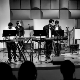 "Performing in Miami with the ""Black & White"" Keyboard Ensemble"