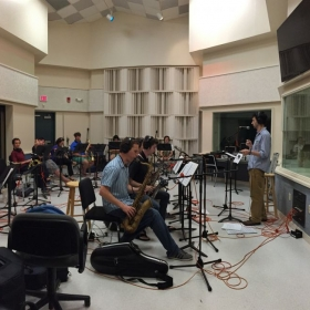 Conducting a brass & woodwind recording session in Miami