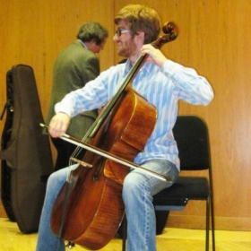 Trying out the Stradivarius instruments at the Smithsonian Museums in Washington DC.