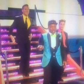 Student Chris Jarosz at Kids Choice Awards onstage w/Todrick Hall