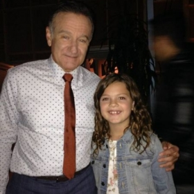 "Pro student 9 year old Morgan Bastian with Robin Williams guest starring on his TV show ""The Crazy Ones"""