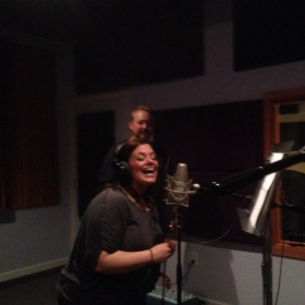 "Student Dr Dani Buda recording backup vocals for student Jock Vissor's single ""Whiskey Talkin'"""