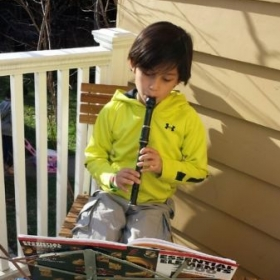 Saturday morning practice - 3rd grader Jacob loves his recorder!
