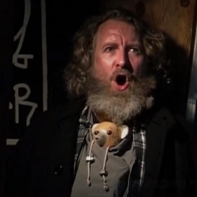 "Gregory S. (with Teddy) as a singing Homeless Man in J. F. Lawton's film ""Jackson"""