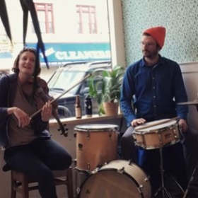 Performing a duo with Julia Read at Pels Pie in Lefferts Garden, Brooklyn.