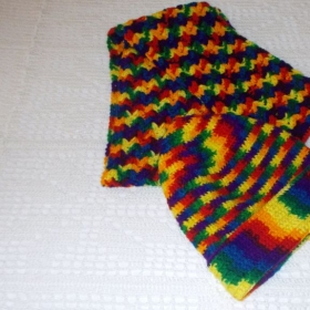 Rainbow Colors V Stitch Hat and Scarf