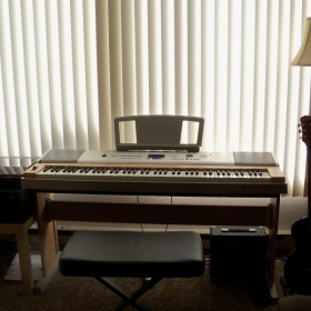 This is my other love, my Yamaha digital piano on which I've spent many hours composing.