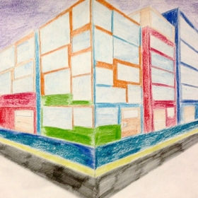 6th Grade Student Artwork- Architectural Design and City Corner in 2-point Linear Perspective.