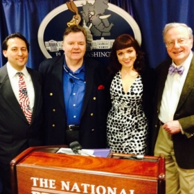 After performance at Washington, DC's Press Club with comedy musical farce team, Planet Washington.