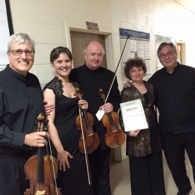 With Lawrence Dutton, Ilya Kaler, Yael Weiss, and Ralph Kirshbaum after Dohnanyi Piano Quintet performance (Heifetz Summer Institute, 2015)