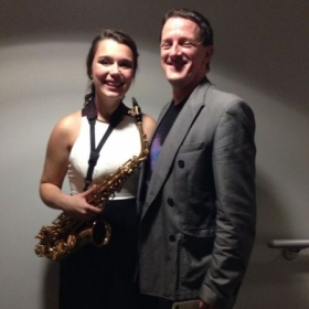 Me and my Saxophone Professor Dr. Michael Cox after my winning concerto performance with the Capital Wind Symphony.