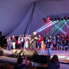 Rockin' out Enter Sandman with Battery (National Metallica Tribute, my two sons, and an army of other kids.