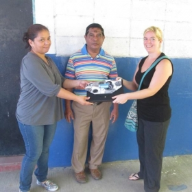 Donating English materials to a local school.