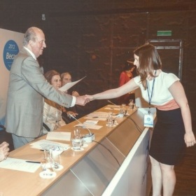 "Greeting the (now former) King of Spain when I got my ""La Caixa"" scholarship."
