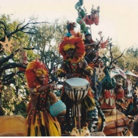 "Nana Obrafo Yaw Asiedu, Lead Drummer, Composer, and Foreman of the ""Lion King Celebration"" in Disneyland."