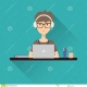 Thumb_117076_pi_woman-working-laptop-headphones-sitting-her-desk-stock-vector-flat-icon-58304565