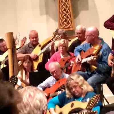 Playing harp guitar at the 2015 Harp Guitar Gathering in North Carolina.