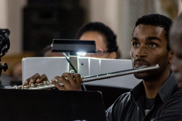 Performing on flute with the Lydians Choir (2014).