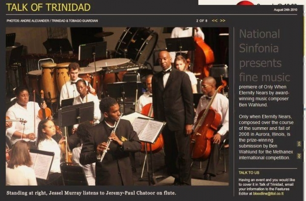 Performing Mozart's flute Concerto in D-major with the National Sinfonia of Trinidad and Tobago (2009).