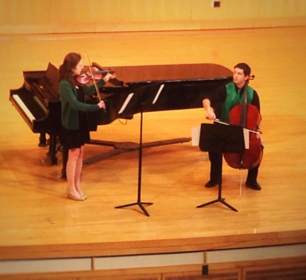 So much fun playing a duo for violin & cello by Warren Gooch with a good friend!