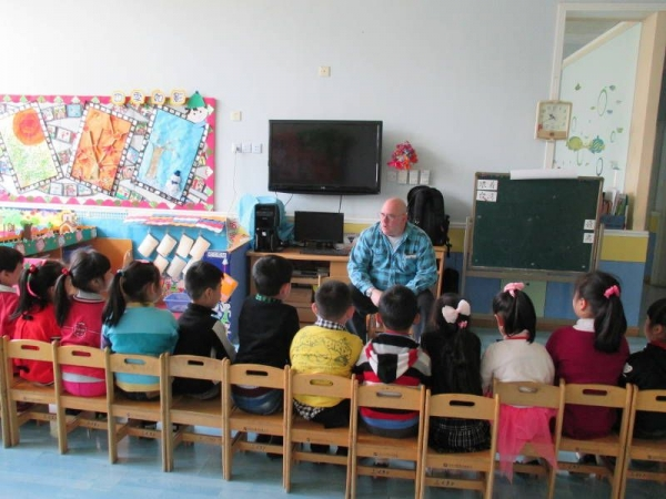 Teaching a kindergarten English class in Shanghai China (2013).