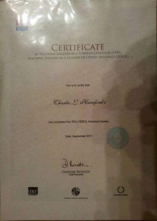TESOL Certificate... (Cropped to fit the re site's requirements).