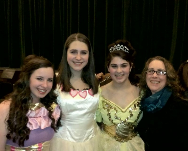 Kathy with Anna, Julia and Elyssa after their final performance in Beauty and the Beast.