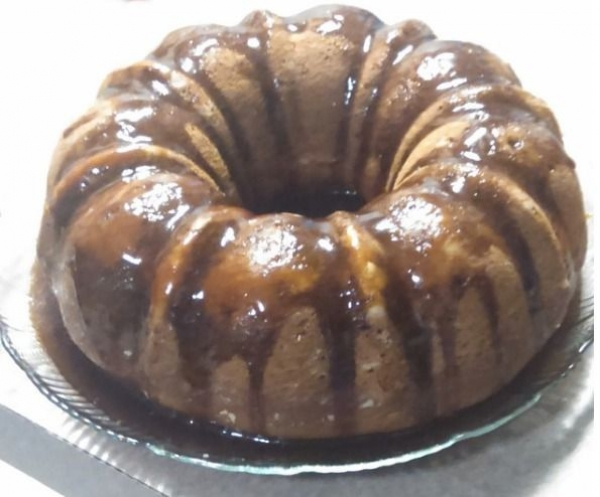 Vegan Vanilla Bundt Cake with Salted Caramel Glaze
