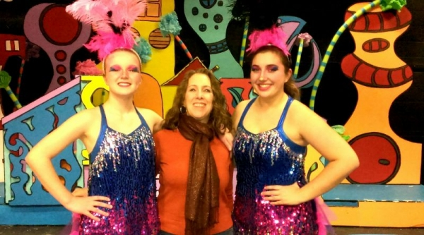 Kathy with Jordan, (left) and Bria (right) after their final performance in Seussical The Musical