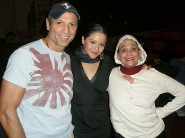 "With student Teresa Ruiz and Mexican actress Ofelia Medina after its U.S. premiere of ""Frida"" at The LATC in Los Angeles."