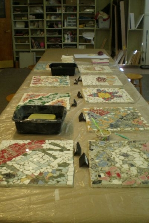 Mosaic tile grouting day.