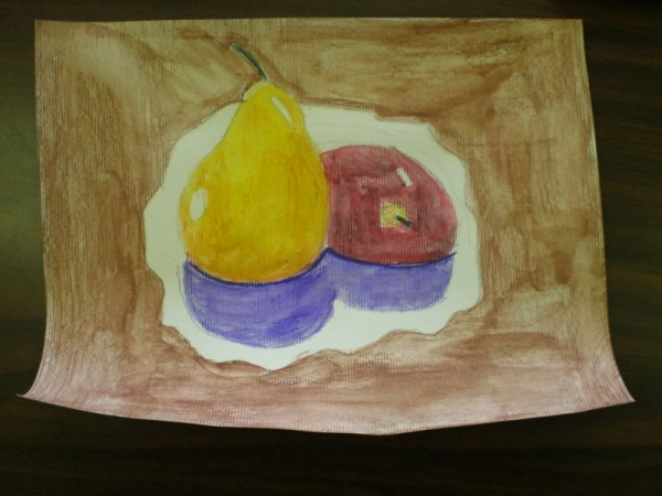 2nd grade observation drawing - watercolor pencils.