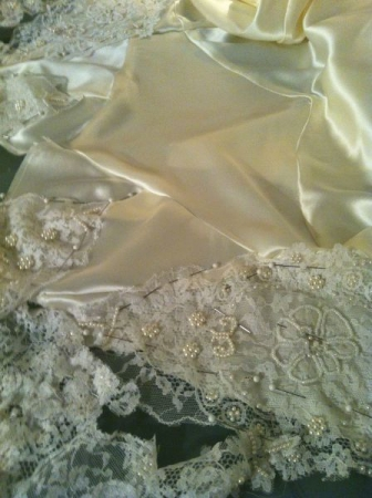 Working with Silk Charmeuse & Chantilly Lace for an bohemian/elegant sheath style bridal gown.