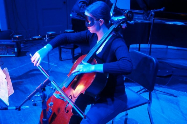 Performing 'Vox Balanae' (Voice of the Whale) by George Crumb, an electro-acoustic piece for flute, piano and cello.
