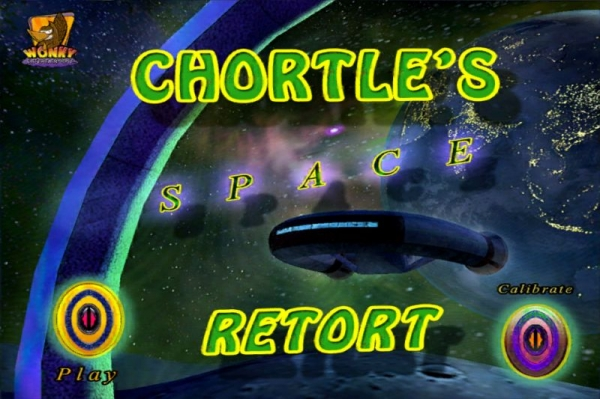 "Start screen from my mobile game on the iTunes Store, ""CHORTLE'S SPACE RETORT""."