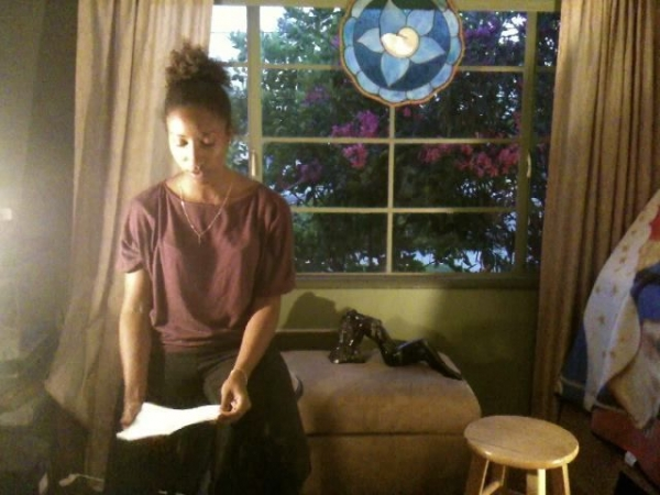 A student going over lyrics during a singing lesson in my home studio in NOHO Arts District