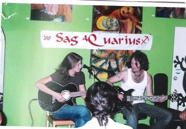 Accompanying a guitar student during an open mic night in Los Angeles.